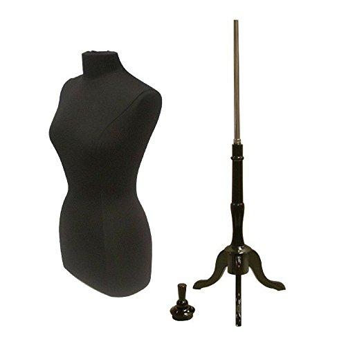 Female Plus Size 14-16 Dress Form Body Form Mannequin with Wooden Black Base #F14/16BK+02BKX