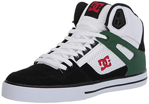 DC Men's Pure HIGH-TOP WC Skate Shoe, White/Green/Black, 11 D M US