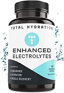 Total Hydration Electrolyte Capsules (100ct) Low Carb Natural Replacement Rehydration Salts with Magnesium, Zinc, Calcium,...