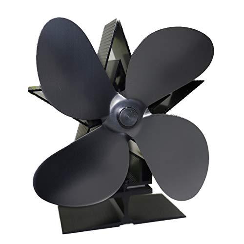MERIGLARE 4- Ventilador de Estufa de Leña, Quemador de Registro de Ventilador de Chimenea Ecológico, Ahorro de Combustible - Negro, Individual