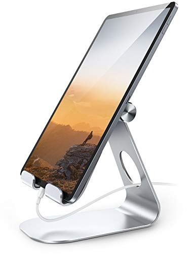 Lamicall Tablet Stand, Adjustable Tablet Holder - Desktop Stand Dock Compatible with New iPad 2020 Pro 9.7, 10.5, 12.9, Air mini 2 3 4, Switch, Samsung Tab, other Tablets - Silver