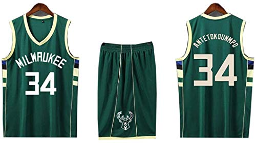 WXR Camiseta de Hombre Mens Mangas Jersey, No.34 Baloncesto Uniformes Tops y Pantalones Cortos de Baloncesto se Divierte la Camiseta Traje Corto (Color : Green, Size : S)