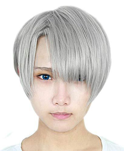 Anogol Hair Cap+Men's Wig Hair Straight Short Gray Cosplay Wigs With Bangs