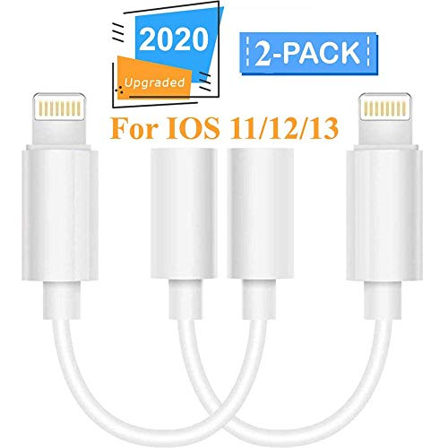 [Apple MFi Certified] iPhone Dongle Headphone Adapter, Lightning to 3.5mm Headphone Jack Adapter Audio AUX Connector Earphone Splitter for iPhone 7/7Plus/8/8Plus/X/XR/XS/XS MAX/11/11 Pro[2 Pack]