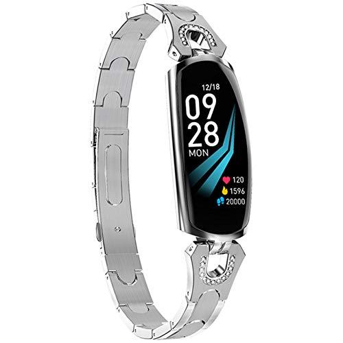 LVF AK16 Mujeres Aptitud Pulsera Bluetooth Tarifa Cardíaca Presión Arterial Fitness Tracker Impermeable Smart Watch para Android iOS,B