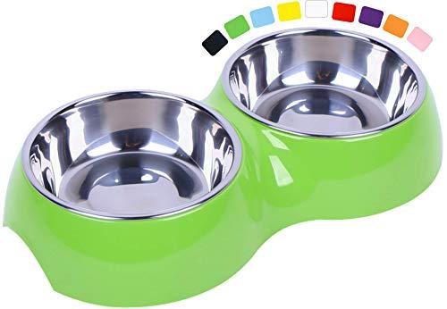DDOXX Doppel-Fressnapf, rutschfest | viele Farben & Größen | für kleine & große Hunde | Futter-Napf Katze doppelt | Hunde-Napf Hund | Katzen-Napf Edelstahl-Napf | Melamin-Napf | Grün, 2 x 160 ml