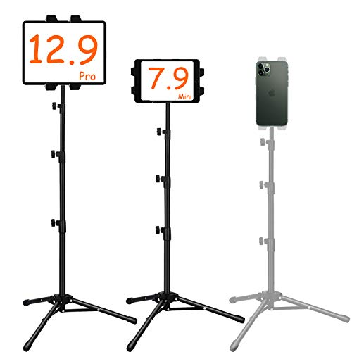 Ipad Tripod Mount, Ipad stand tripod,Phone Floor Stand, Height Adjustable 20 to 67 Inch Tablet Stand for Ipad, Ipad Pro 12.9, 11 and Others Within 5.5-12.9 Inch, Carrying Case and Mini Stand Includeed