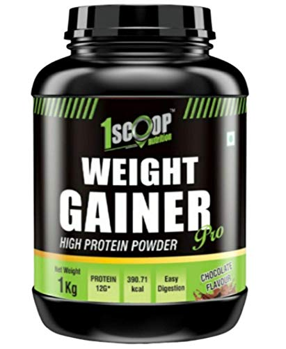 1 Scoop Nutrition Pro- WEIGHT GAINER 1KG [Chocolate Flavour] Best & Fast Weight Gain Protein Powder Formula with Whey   Weight & Mass Gainer Supplements For Men-Women-Muscle Growth, Stamina & Strength