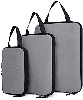 Travel packaging organizer Compression Packing Cubes, 3pcs Expandable Storage Travel Luggage Bags Organizers(gray)