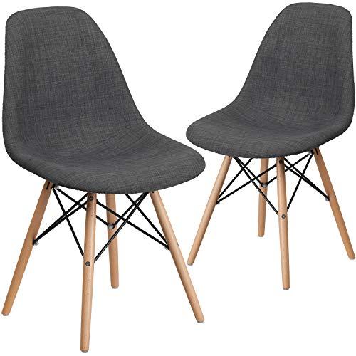 Flash Furniture Gray Fabric/Wood Nicht zutreffend, Textil, Siena Grau, 2 Pack