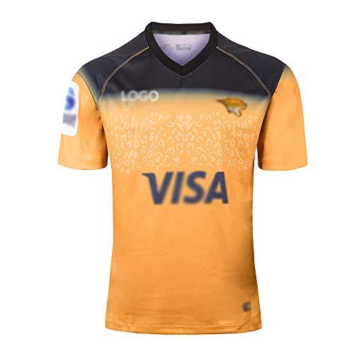 2019 Rugby Jersey Jaguar, Auswärts Spiel, Männer Sport T-Shirt, Polyester Atmungsaktive Kurzarm Rundhals Hals Tops,Gelb,M