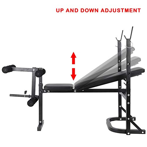 Adjustable Weight Bench Foldable Workout Weight Bench w/ Rack | Sit Up Bench Fitness Bench Abs Bench | Home Gym Barbell Lift Flat Fly Weight Press | Exercise Fitness Strength Training Muscle Gains