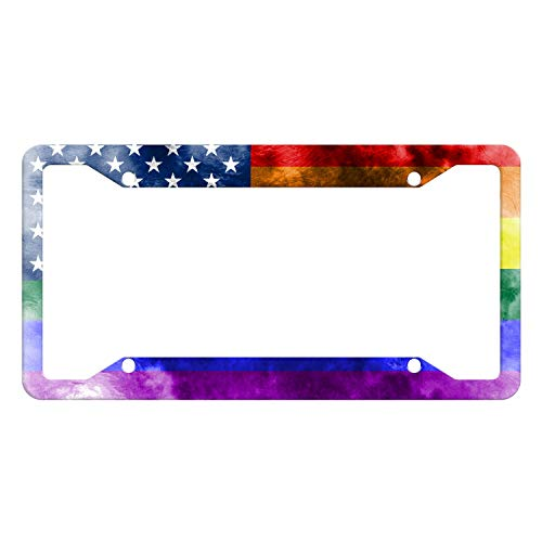 EXMENI American Flag License Plate Frame Funny Rainbow Plate Frame Gay Pride Shining License Plate Cover Colorful Car Tag Frame USA Flag Design Car Accessories with 4 Holes and Screws