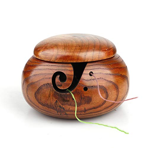 SLDHFE Tazón de hilo de madera con tapa, cuenco de ganchillo, accesorios de almacenamiento y...