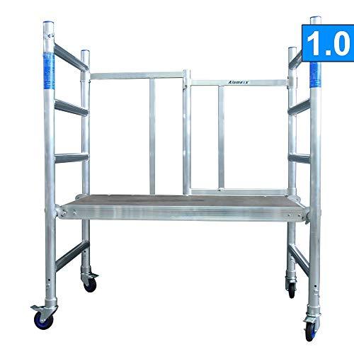 Alumexx ALX X-up, Klappgerüst, X-Rohrkonstruktion, Aluminiumgerüst (3M bis 7M arbeitshöhe) (Aluminium, 3M arbeitshöhe)