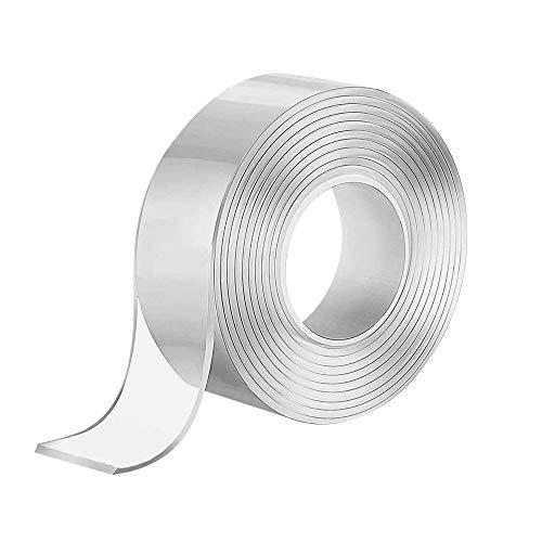 Doppelseitiges Klebeband Tape Waschbares Klebeband ransparent Nano Entfernbares Wiederverwendbares Klebestreifen Rutschfest Multifunktionales, für Teppich Fotorahmen Küche(3M)