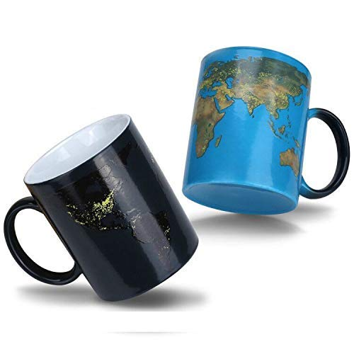 Magische Kaffeetasse Erde,Tasse Thermoeffekt Weltkarte Geschenk Fuer Maenner Papa Geschenkideen Lustige Kaffeetassen 12Oz/350ml Keramik Becher Tassen Geschenke für Männer/Mann (Tasse Erde)