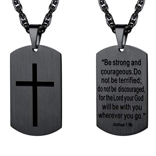 PROSTEEL Cross Jewelry,Mens or Womens Necklaces Pendants,Military Dog Tag,Dogtag,Be Strong and Courageous,Inspirational Necklace,Stainless Steel Chain