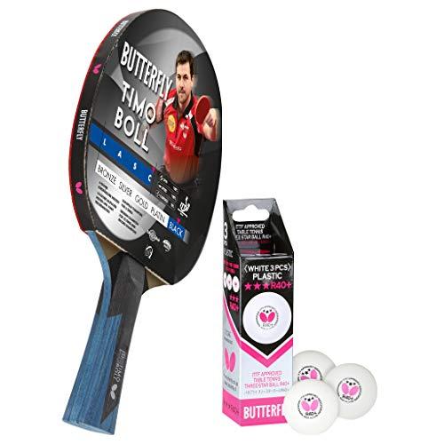 Butterfly Timo Boll Black Tischtennisschläger + 3*** ITTF R40+ Tischtennisbälle | Tischtennisschlägerset | Tischtennis Profi Set
