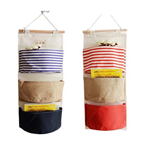 ZMYY - Bolsa de almacenamiento para colgar en la pared, 3 bolsillos para guardarropa, acabado de armario, bolsa de almacenamiento para estudio, baño, cocina, oficina