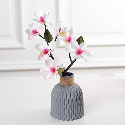 King Style Nordic Vase, Kunststoff Vasen für Blumen, Moderne Geometrische Blumenvasen für Wohnzimmer/Büro/Home Decoration/Hochzeit Dekoration (Grau)