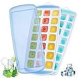 Cubiteras para Hielo Silicona Ninonly 2pcs Bandeja De Hielo con Tapa sin BPA, Moldes de Cubitos para Congelarse Alimentos, mejor para congelador, comida de bebé, agua, whisky, cóctel y otras bebidas