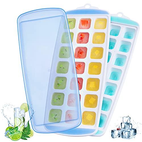 Cubiteras para Hielo Silicona Ninonly 2pcs Bandeja De Hielo con Tapa sin BPA, Moldes de Cubitos para...