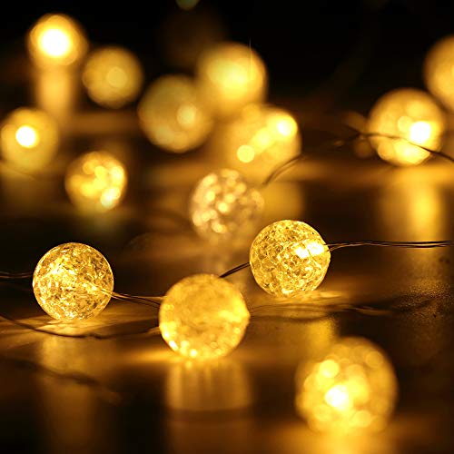HuTools Globe String Lights Crystal Crackle Ball Lights 10FT 30 LED Warm White Battery Operated Fairy Hanging Lights Perfect for Bedroom, Indoor, Outdoor, Wedding, Valentines Day