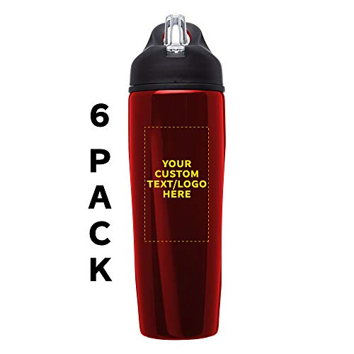 Custom Stainless Steel Water Bottle, 6 pack, Personalized Text, Logo, 28.5 oz Metal Sports Bottles with Flip Top, Easy Carrying, Red