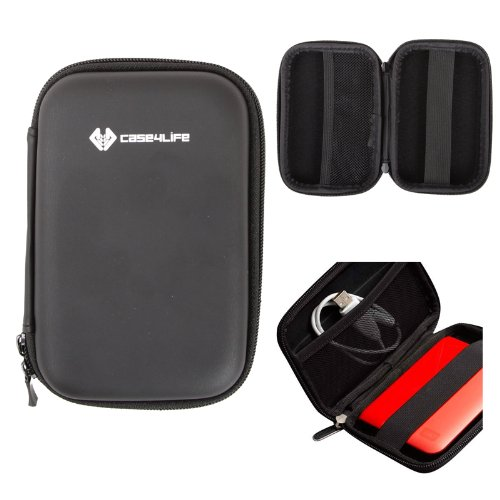 Case4Life Schwarz stoßfest Externe Festplattentaschen (2,5 Zoll 6,35cm) für Toshiba Canvio Basics/Ready 500 GB 1TB 1.5 TB 2 TB 3 TB