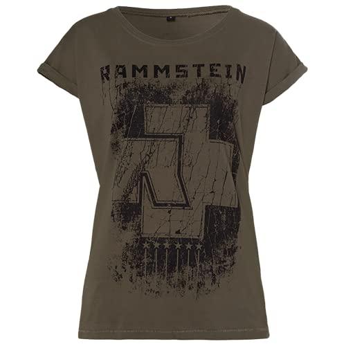 Rammstein Frauen Damen Girlie Shirt 6 Herzen Oliv, Offizielles Band Merchandise Fan Shirt schwarz mit Front und Back Print (M)