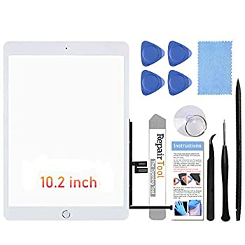 Fixerman Touch Screen for iPad 7th Gen 8th Gen Digitizer 10.2  A2197 A2198 A2200,A2270 A2428 A2429 A2430  Glass Replacement Parts NO LCD ,with Home Button+Pre-Installed+Repair Tools White