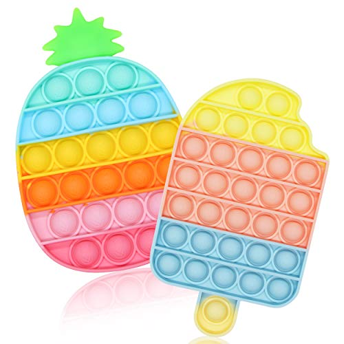 SUYPAS Push Pop Fidget Toys, Push Pop Bubble Fidget Sensory Toy for Kids and Adults,Fidget Pack with Pop Sensory Anti-Anxiety Toys- Reliever,Squeeze Sensory Toy(2Pack Rainbow- Pineapple + Ice Cream)