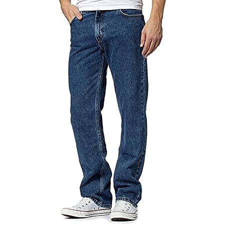 MyShoeStore Mens Original Cotton Jeans Plain Straight Leg Heavy Duty Denim Wash Boys Jean Classic Designer Fit Casual Work Wear Zip Fly Belt Loop Pants Pocket Trousers