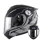 Casco integral para hombres y mujeres para adultos, casco modular abatible para motocicleta, motocicleta, motocross, ciclomotor, casco de carreras callejeras, aprobado ECE casco,5,XL