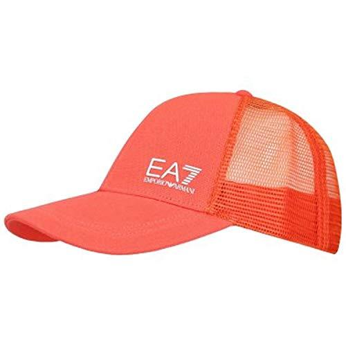 Emporio Armani EA7 Gorra de béisbol de malla para hombre, naranja, talla única
