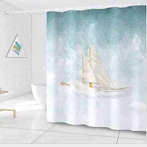 Shower Curtain, Waterproof and Mildew Proof Cloth, Bathroom Curtain, Machine Washable, 180x200 cm, with 12 Anti-Rust Rings, Weighted hem Design… (Green-1)