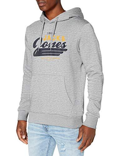 JACK & JONES JJELOGO Sweat Hood 2 COL 20/21 Noos Sweatshirt à Capuche, Homme - Gris - Gris clair chiné - L
