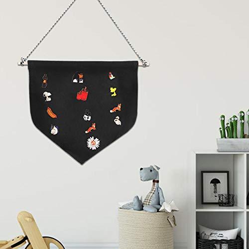 Banners de crachá, suporte de armazenamento de broche, escritório de algodão de poliéster para decoração de casa(black, M)