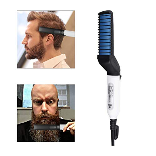 Cepillo eléctrico para barba, barba más rápida para hombre, alisador Styler Comb, cepillo alisador de pelo multifuncional para modelado flexible, pelo lateral natural