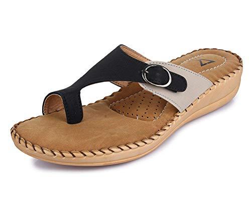 TRASE 44-006 Cream & Black Doctor Ortho Slippers for Women - 6 UK