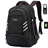 Slim Waterproof Laptop Backpack, College School Computer Backpack with USB Charging and Lock, Black Canvas Travel Student BookBag for Men/Women for 15 15.6 Inch Laptop and Notebook
