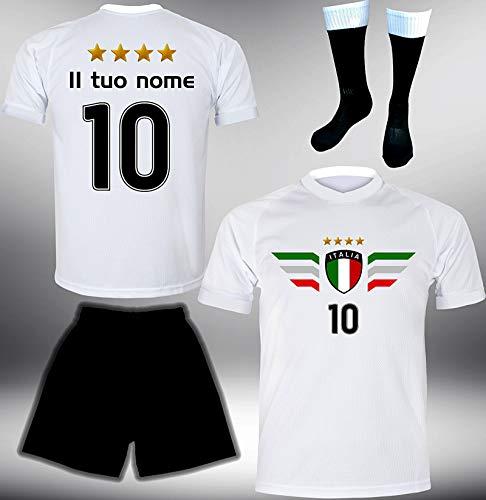 DE-Fanshop Italien Trikot Set 2018 mit Hose & Stutzen GRATIS Wunschname + Nummer im EM WM Weiss Typ #IT7ths - Geschenke für Kinder Erw. Jungen Baby Fußball T-Shirt Bedrucken Italia