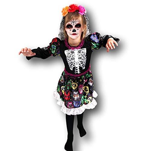 Rubber Johnnies DÍA DE LA Muerta Disfraz de Novia Esqueleto, gomitas de Goma, niños, , 4-6 ANS