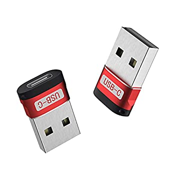 2-Pack  USB A Male to USB Type C Female Adapter Charger Cable Converter C Dongle Compatible with iPhone 11 12 Mini Pro Max,iPad 2020,Samsung Galaxy Note 10 S21 S20 Plus,Google Pixel 5 4A 3a  Red