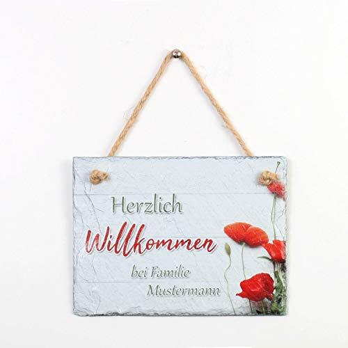 Kreative Feder Willkommen | Schiefertafel Türschild mit Wunschtext | personalisiertes Namensschild | Einzugsgeschenk | 20x15cm (zum Aufhängen)