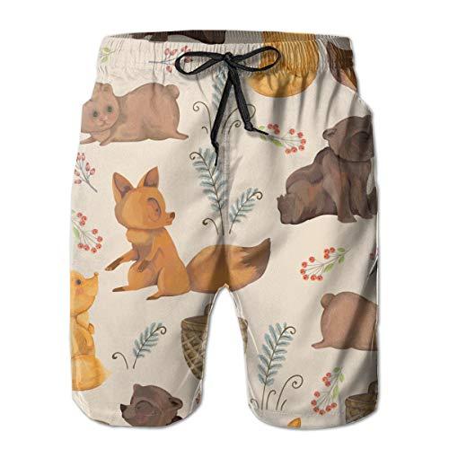 Little Foxes Teddy Bear Basket Bayas y Hojas de Helecho Bañador para Hombre Surf Tabla de Secado Rápido Shorts de Playa Cordón Cintura Elástica con Bolsillos XXL