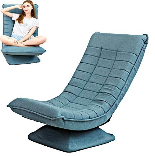 stile moderno Poltrona Sedia Pieghevole Reclinabile Girevole Rotazione di 360 °pavimento poltrone salotto Multifunzione Schienale regolabile in 3posizioni sedie Coprisedile in lino Rimovibile/BLU