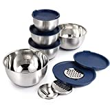 Mari Chef Set of 5 Stainless Steel Mixing Bowls | Includes Salad Bowls of 1L, 2L, 2.5L, 3L, 4.5L | Container with Grater, Non-Slip Silicone Base & Lids | Perfect for Baking, Making Salads & Storage