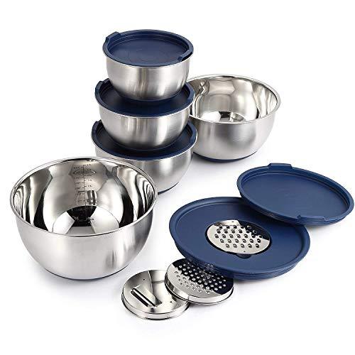 Mari Chef Set 5 Tazones de Mezcla Acero Inoxidable | Ensaladeras 1L-2L-2.5L-3L-4.5L | Cuencos con Rallador, Base de Silicona Antideslizante y Tapas | Preparación de Ensaladas, Recetas y Almacenamiento